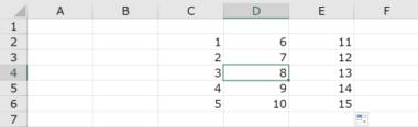 データ群の中のセルにカーソルを置く