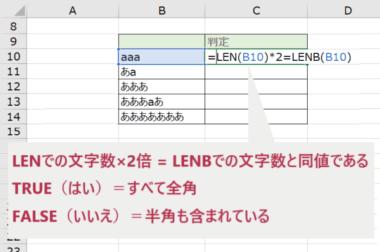 LEN関数・LENB関数の戻り値で判断