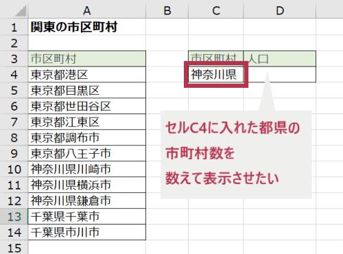 文字列の部分一致指定でCOUNTIFする例