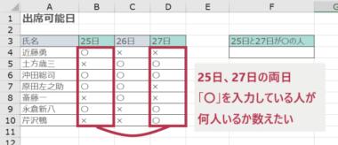 COUNTIFS関数で文字列を検索する例