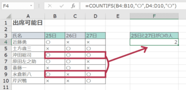 2つの条件に一致するデータの個数を算出