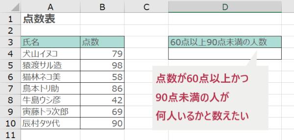 COUNTIFS関数で論理式を指定する例