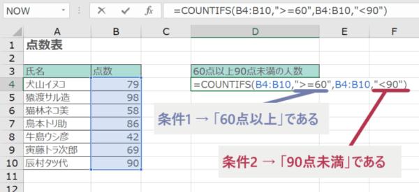 COUNTIFS関数に論理式を入力