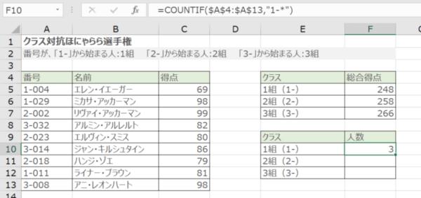 COUNTIF関数で部分一致検索する(F10に学生人数が表示される)