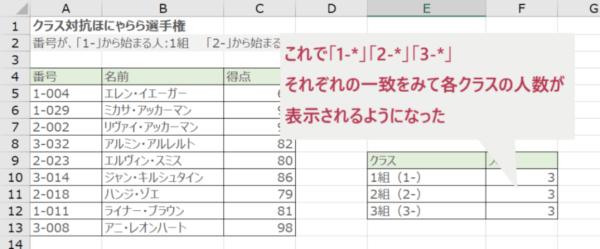 COUNTIF関数で部分一致検索する(すべての学生人数が表示された)