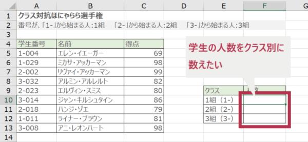 COUNTIF関数でクエスチョンマークを使って部分一致検索する(例のイメージ)
