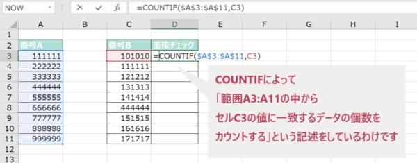 14_002_④データに重複があるかチェックする方法(COUNTIF関数に引数を入力する)