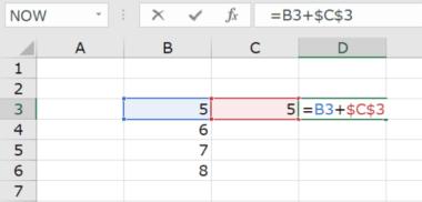 Excelでの足し算で絶対参照をつかうパターン(参照を固定したいセルに$マークをつけて絶対参照にする)