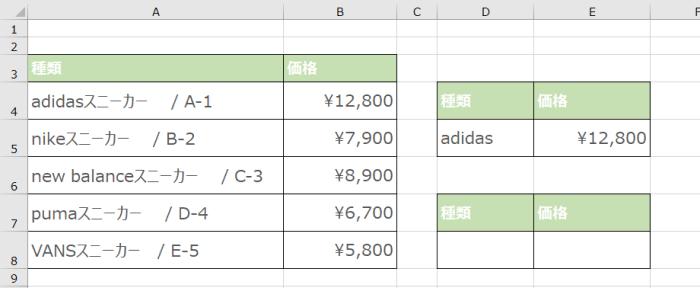 2_VLOOKUP関数で「*」を使って後方一致をする場合のデータ例