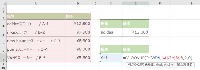 VLOOKUP関数で「*」を使って後方一致をする場合のワイルドカードの使い方