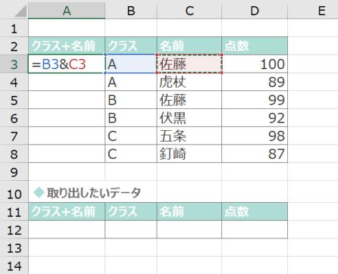B列とC列のデータをつなげて1つのデータに変換する
